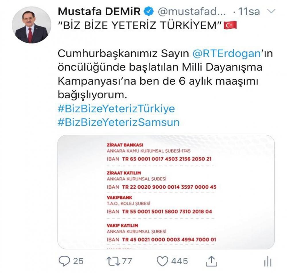 BAŞKAN DEMİR'DEN MİLLİ DAYANIŞMA KAMPANYASI'NA DESTEK